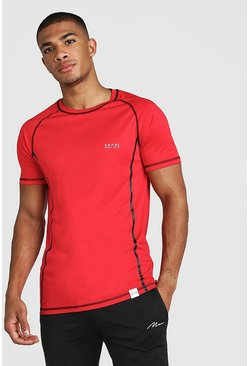 T-shirt raglan MAN Active Poly avec coutures, Rouge, Homme