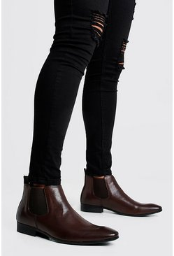 Bottines Chelsea effet cuir, Marron