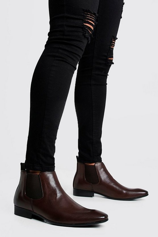 Mens Brown Leather Look Chelsea Boots