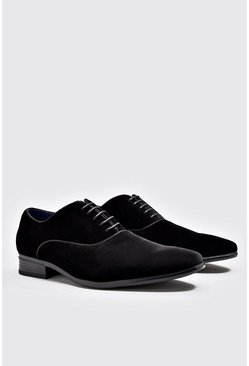 Mens Black Smart Velvet Shoes