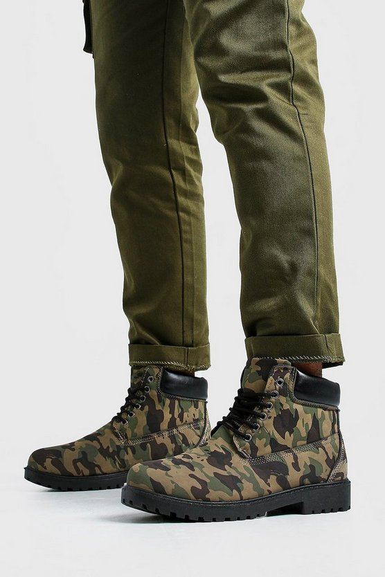 Mens Camo Worker Boots