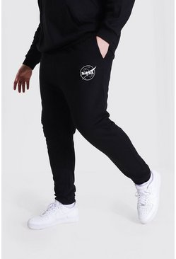 Black Plus Size Nasa Logo License Jogger