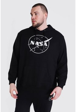 Grande taille - Sweat à capuche officiel NASA logo, Black