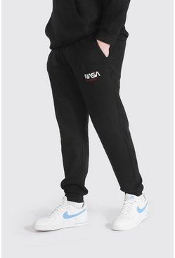 Black Plus Size Nasa Text Logo License Jogger