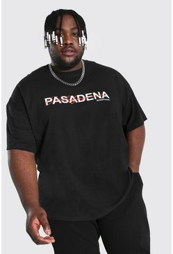 Black Plus Size Pasadena Text Print T-shirt
