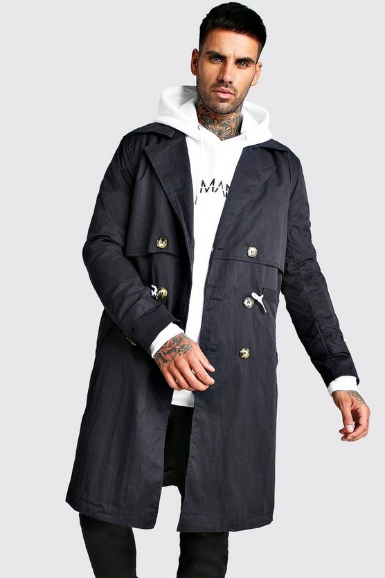 Navy Trench Coat With Shoelace Belt