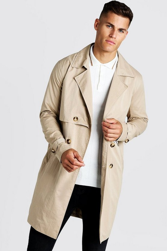 Sand Trench Coat With Shoelace Belt