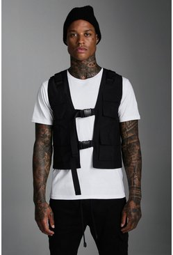 Black Nylon Utility Vest With Buckles
