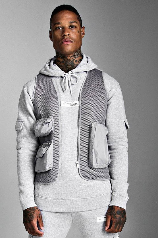 Mens Grey Mesh Utility Vest With Strap Detail