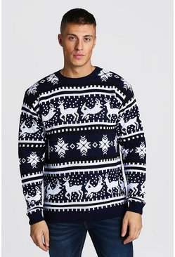 Mens Navy Reindeer Fairisle Christmas Jumper