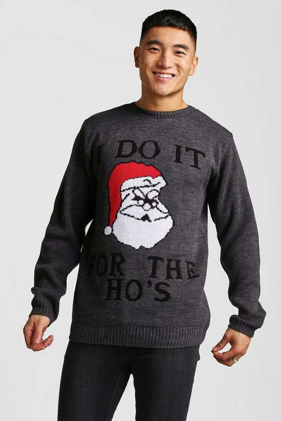 Mens Charcoal 'I Do It For the Ho's' Christmas Jumper