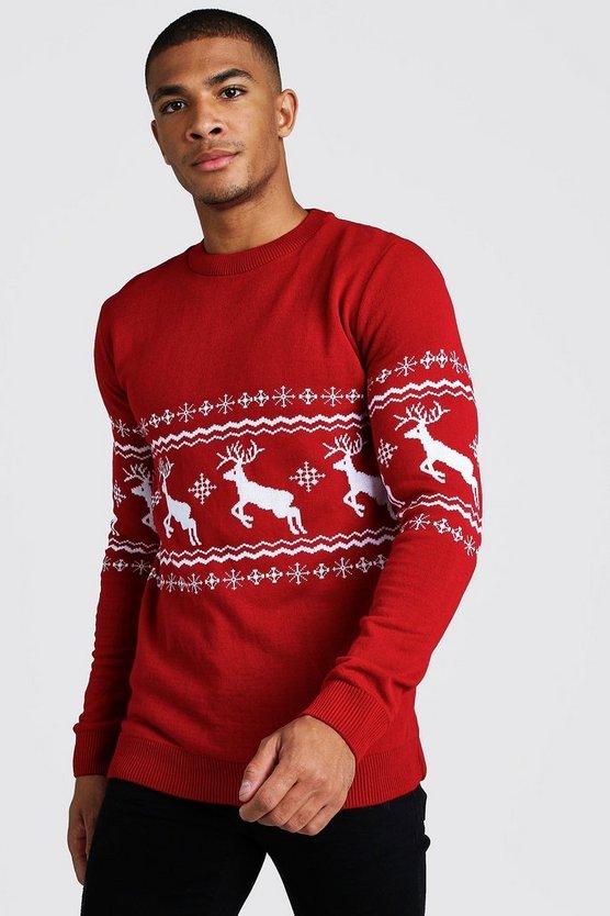 Muscle Fit Reindeer Fairisle Christmas Jumper by Boohoo Man