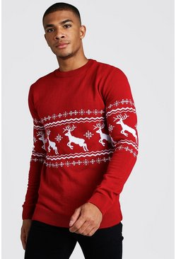 Mens Red Muscle Fit Reindeer Fairisle Christmas Jumper