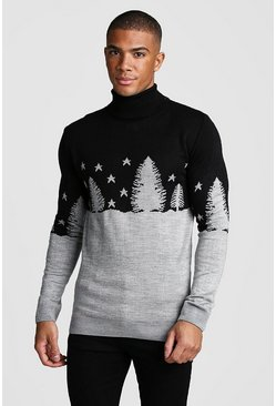 Mens Black Muscle Fit Forest Roll Neck Christmas Jumper