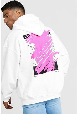 Mens White MAN Oversized Graffiti Back Print Hoodie