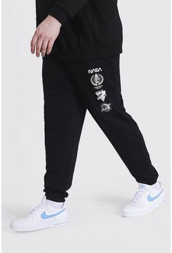 Black Plus Size Nasa Multi Logo License Jogger