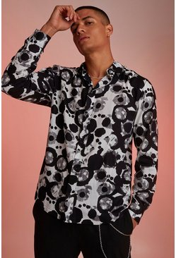 Black Viscose Long Sleeve Abstract Print Shirt