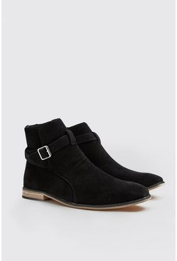 Mens Black Buckle Wrap Around Chelsea Boot