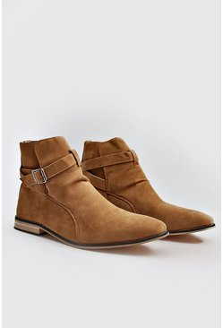 Mens Tan Buckle Wrap Around Chelsea Boot