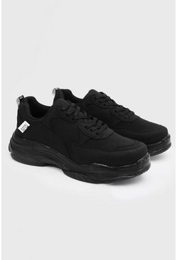 Black Matte Chunky Sneakers
