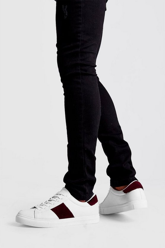 Mens Burgundy Velvet Side Tape Trainer