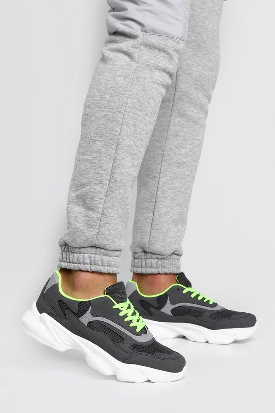 Mens Grey Neon Lined Chunky Trainer