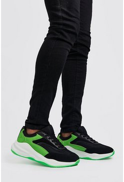 Mens Neon-green Neon Sole Chunky Trainer