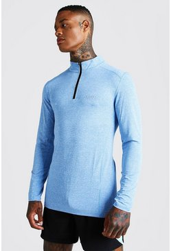 Mens Blue MAN Active Long Sleeve Running Top