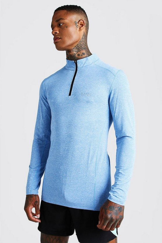 T-shirt chiné à manches longues MAN Active Muscle Fit, Bleu, Homme