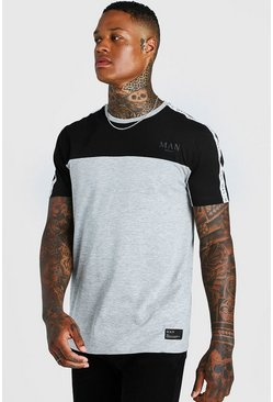 T-shirt bande colour block Roman MAN, Gris, Homme