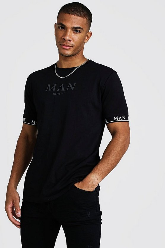 Mens Black MAN Roman T-Shirt With Tape Cuff