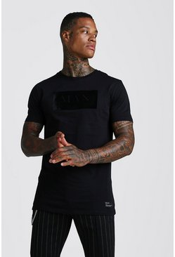 Mens Black Muscle Fit MAN Roman Flock T-Shirt