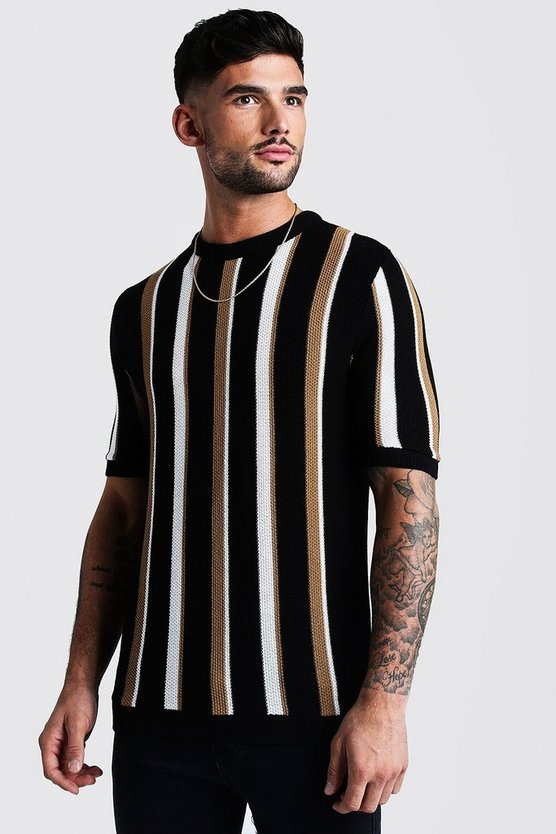 Black Regular Fit Vertical Stripe Knitted T-Shirt