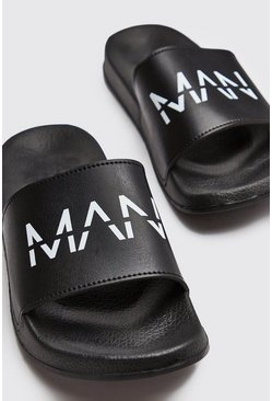 Mens Black MAN Dash Sliders