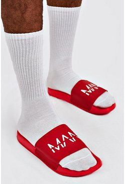 Mens Red MAN Dash Sliders
