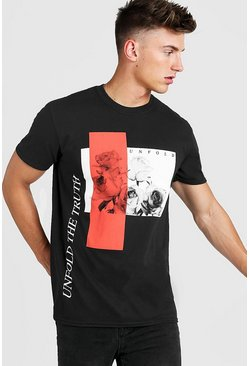 Mens Black Oversized Unfold The Truth Print T-Shirt