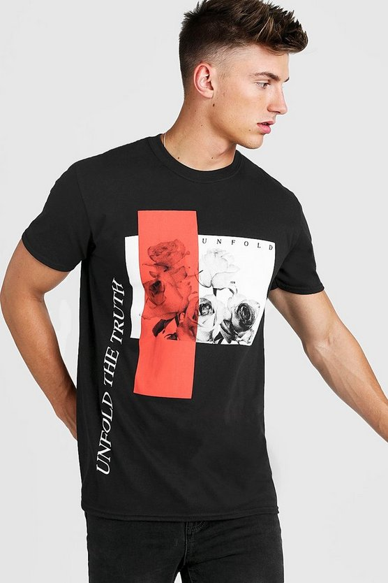 "Oversized T-Shirt mit ""Unfold The Truth""-Print, Schwarz, Herren"