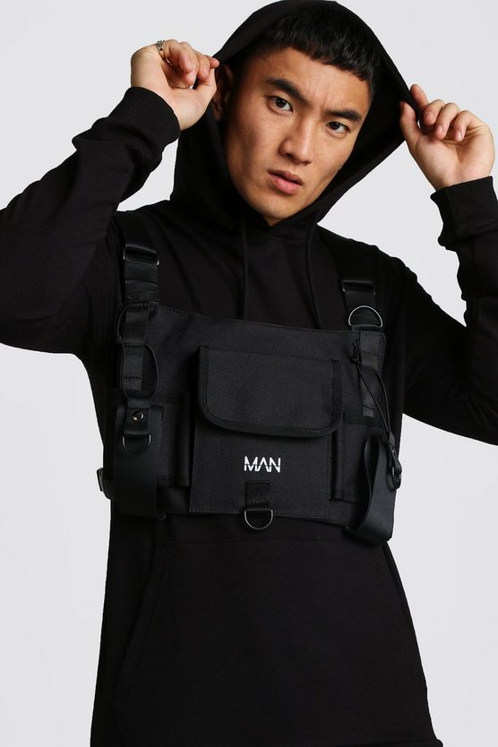 Black Oversized Rubber Print Chest Rig