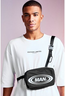 Mens Black MAN Design Crossbody With Metal Buckles