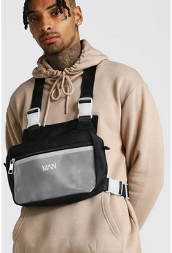 Mens Black Frosted Pocket Chest Rig