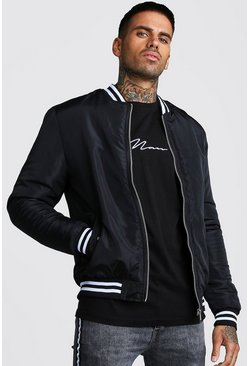 Black Padded Bomber With Contrast Rib