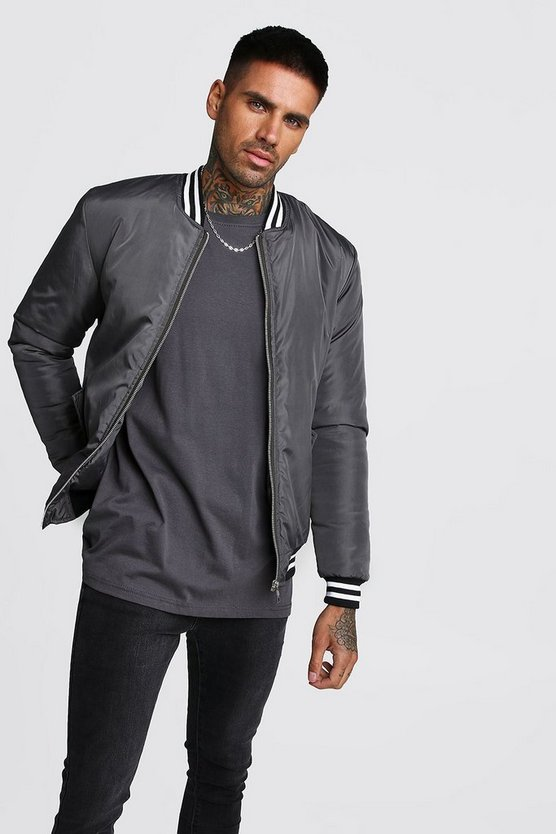 Mens Charcoal Padded Bomber With Contrast Rib