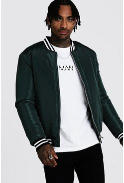 Mens Emerald Padded Bomber With Contrast Rib