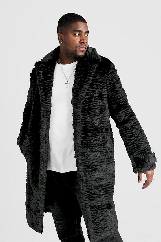Mens Black Big & Tall Luxe Faux Fur Overcoat