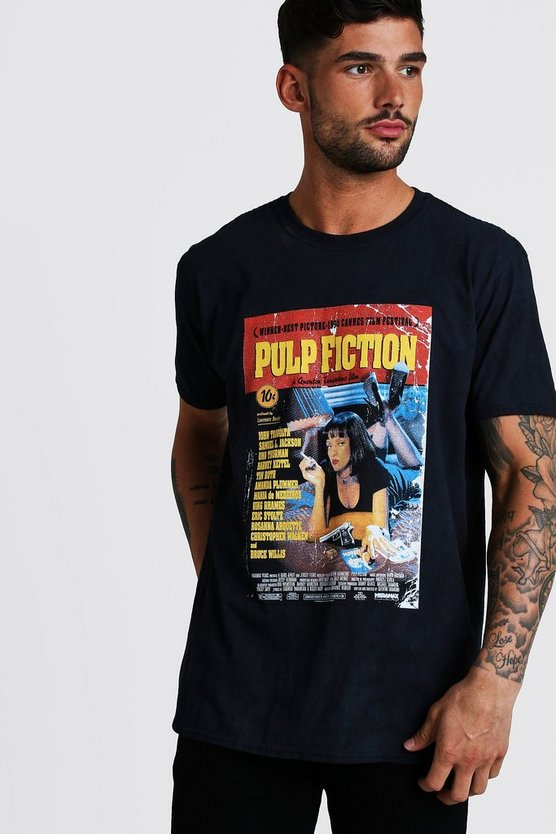 Black Pulp Fiction Oversized Washed License Tee