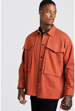 Mens Terracotta Cotton Twill Popper Detail Overshirt