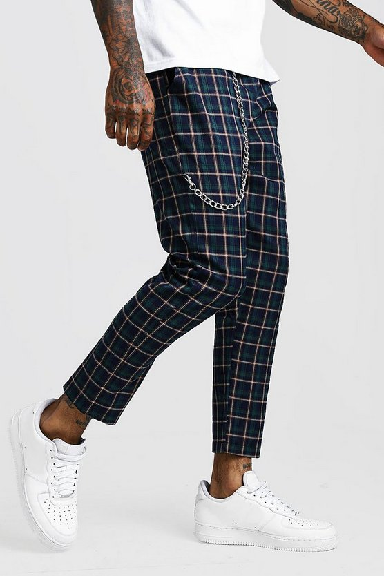 Mens Green Tartan Check Cropped Jogger With Chain Detail