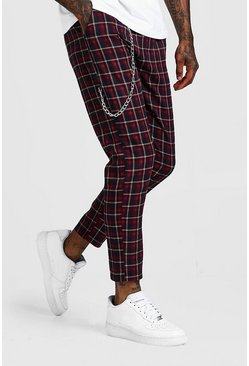 Mens Navy Tartan Check Cropped Jogger With Chain Detail