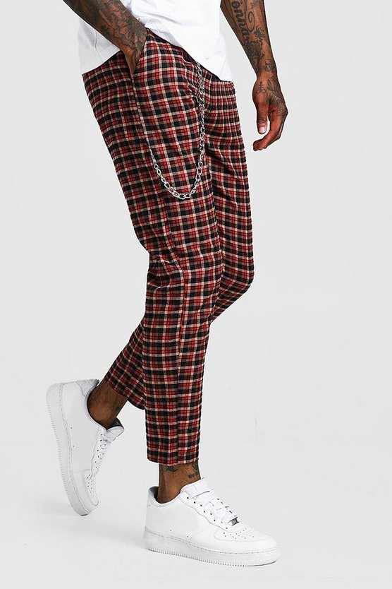 Red Tartan Check Cropped Jogger With Chain Detail