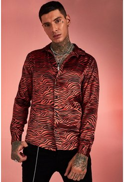 Mens Orange Long Sleeve Satin Tiger Print Shirt